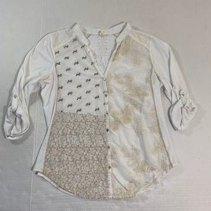Anthropologie Tiny Embroidered Shirt Top M